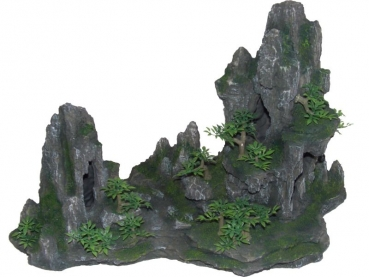 rock cave with plant, anthrazit, 45 cms - 8855